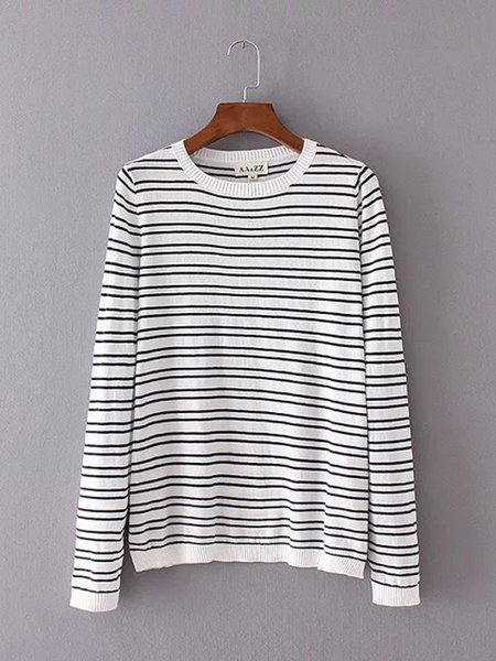 White Knitted Stripes Long Sleeve Patchwork Sweater