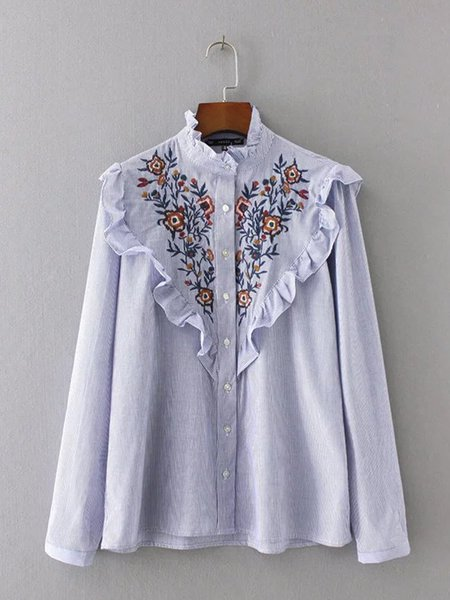 Blue Embroidered Ruffled Long Sleeve Stripes Blouse