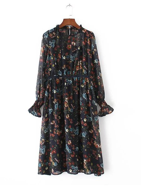 Floral-print See-through Look Long Sleeve Two Piece Dress