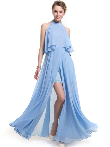 Sky Blue Slit Front Sleeveless Halter Solid Dress