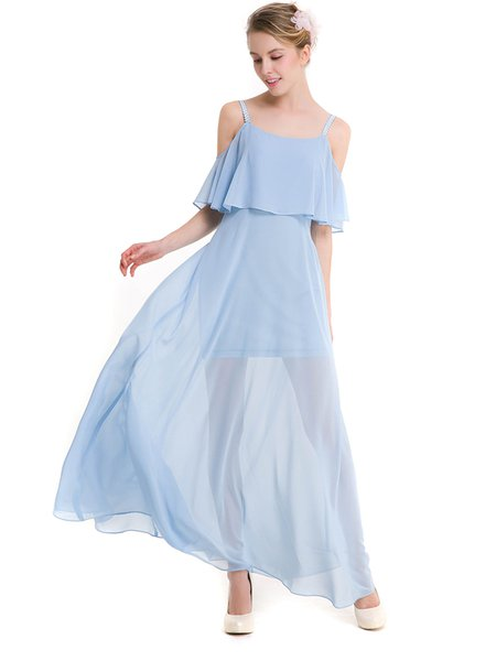 Sky Blue Chiffon Girly Cold Shoulder Swing Dress