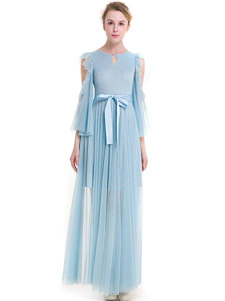 Sky Blue Polka Dots Elegant Cold Shoulder Ruffled Bow Dress