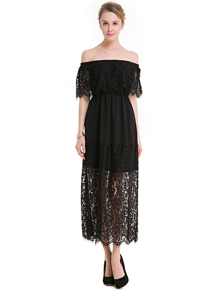 Black Off Shoulder Elegant Crocheted Dress