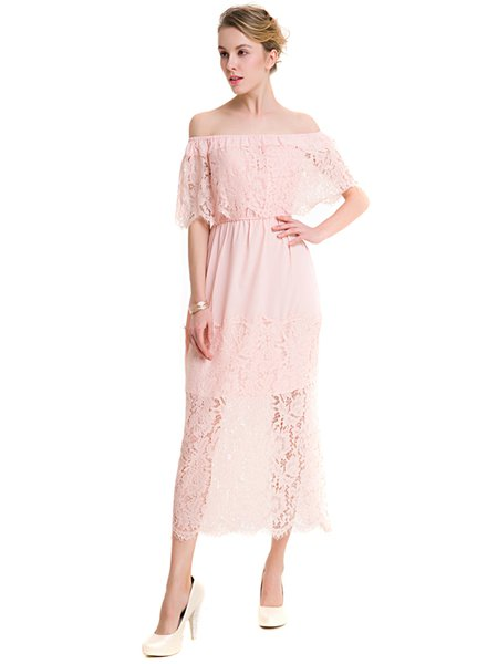 Pink A-line Elegant Off Shoulder Crocheted Dress