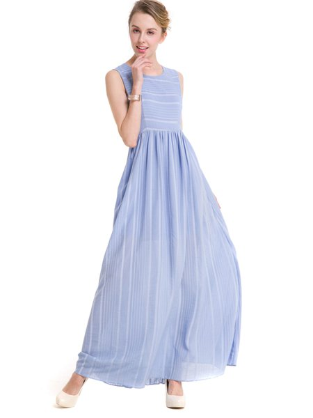 Sky Blue Swing Folds Sleeveless Stripes Dress