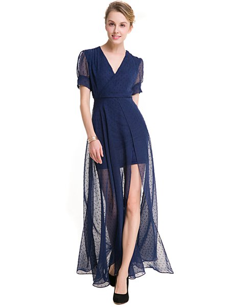Navy Blue Swing Surplice Neck Slit Polka Dots Dress