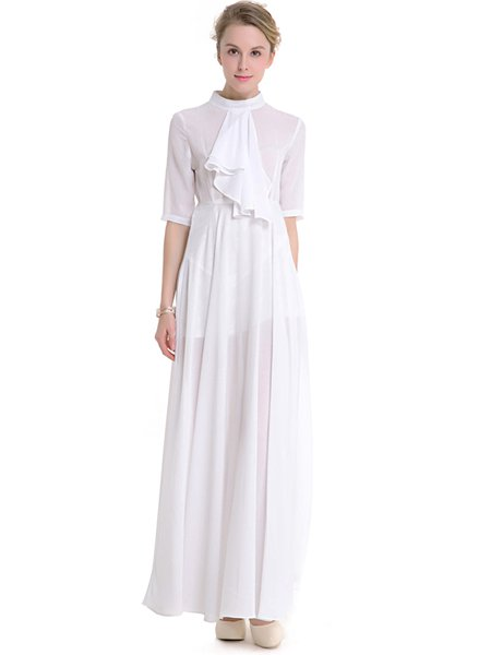 White Ruffled Stand Collar Half Sleeve Swing Dress