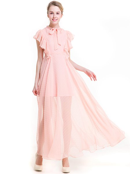 Pink Frill Sleeve Stand Collar Chiffon Ruffled Girly Dress