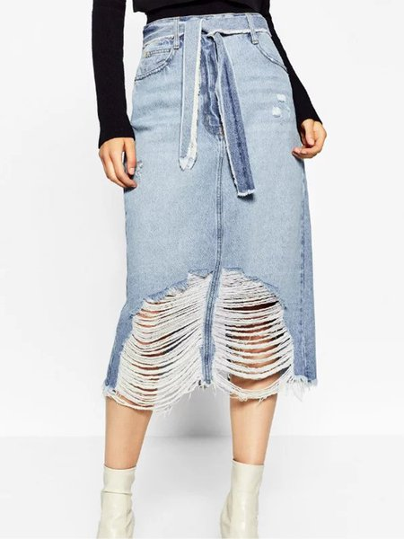 Blue Ripped Distressed Casual A-line Skirt