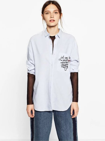 Long Sleeve H-line Embroidered Casual Shirt Collar Shirt