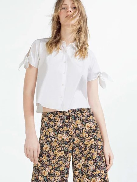 White Bow Shirt Collar Girly Solid Short Sleeve Crop Top
