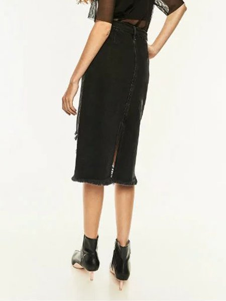 Black Ripped H-line Pockets Street Denim Skirt with Belt ...