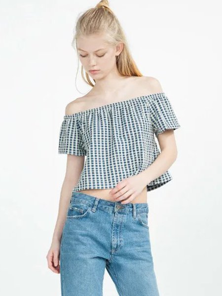Blue A-line Checkered Girly Off Shoulder Top