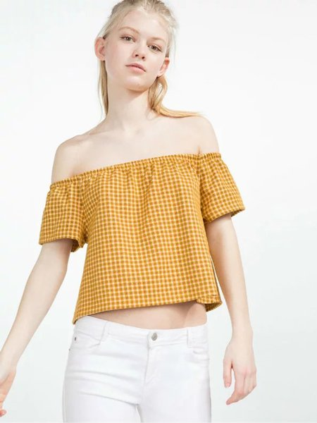 Yellow Checkered Girly A-line Off Shoulder Top