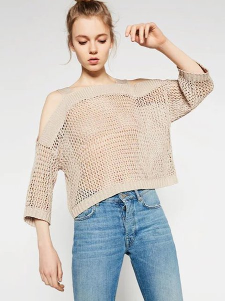 Khaki Pierced Knitted Casual Cold Shoulder Top
