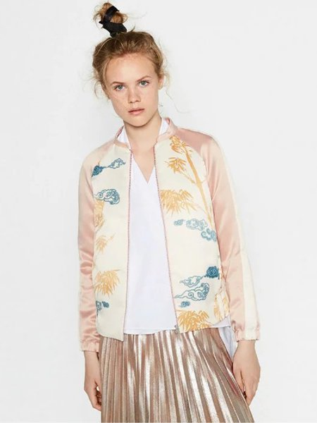 Pink Printed Long Sleeve Stand Collar Bomber Jacket