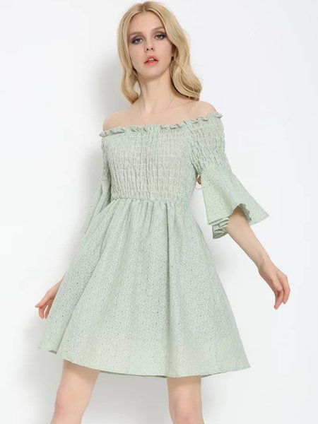 Light Green Shirred Frill Sleeve Floral Dress