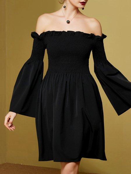 Black Silk Solid Elegant Ruffled Cocktail Dress