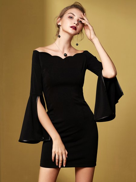 Solid Paneled Elegant Frill Sleeve Bodycon Cocktail Dress