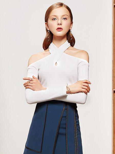 White Off Shoulder Cotton Long Sleeve Sheath Cold Shoulder (Off Shoulder) Top