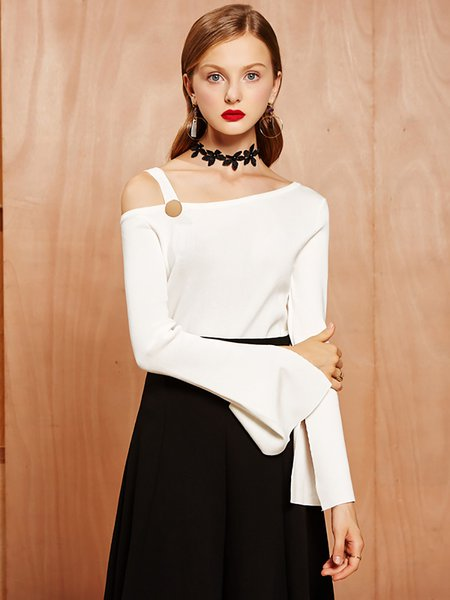 White One Shoulder Plain Sexy Sweater