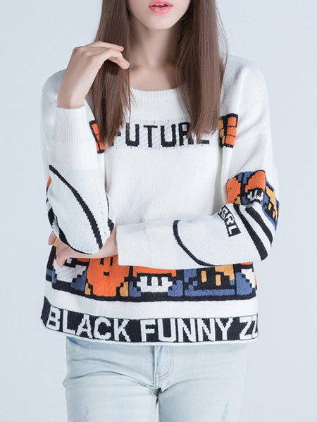 White Knitted Letter Sweet Sweater