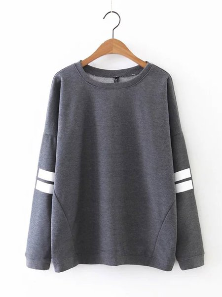 Gray Crew Neck Color-block Long Sleeve H-line Sweatshirt