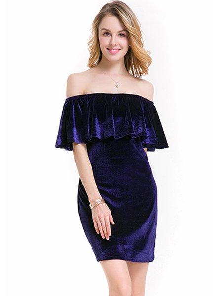 Off Shoulder Elegant Ruffled H-line Velvet Dress
