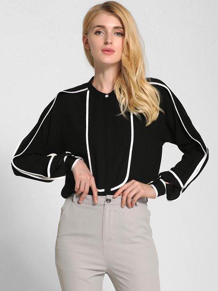 Binding Stand Collar H-line Long Sleeve Shirt