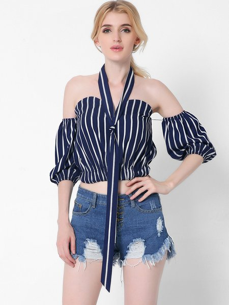 Navy Blue Off-shoulder Sweetheart Stripes Crop Top with Scarf