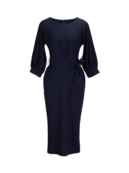 Dark Blue Sheath Balloon Sleeve Gathered Pockets Solid Dress with Belt