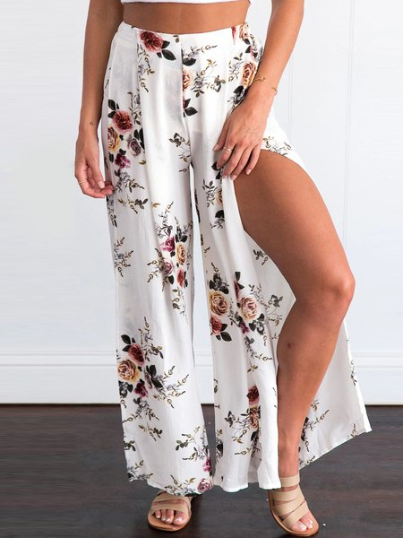 Split Floral-print Casual Wide Leg Pants