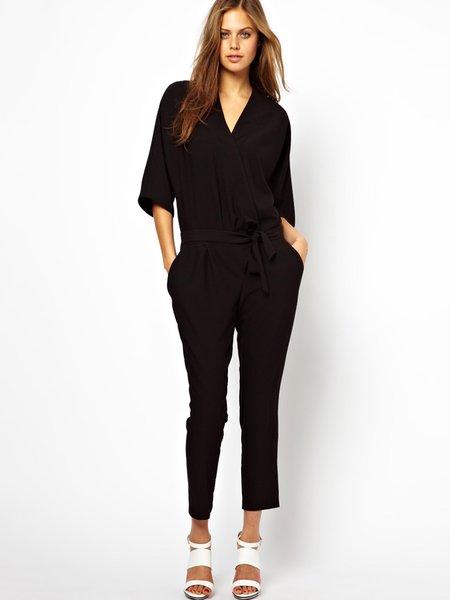 Black Pockets Solid 3/4 Sleeve Jumpsuit with Belt