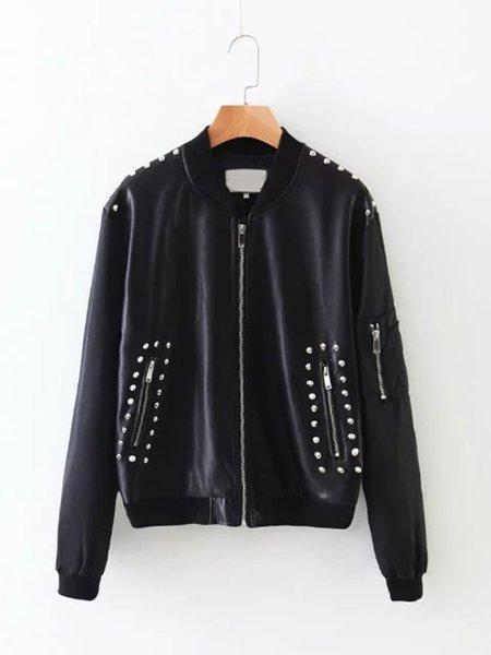 Black Zipper Embroidered Rivet PU Bomber Jacket