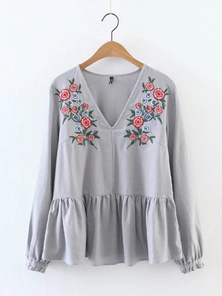 V Neck A-line Embroidered Long Sleeve Blouse