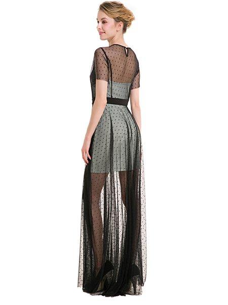 Light Green Mesh Polka Dots Short Sleeve Maxi Dress ...