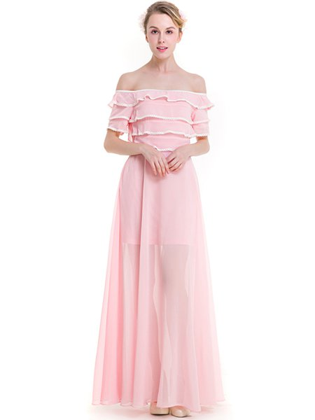 Pink Off Shoulder Ruffled Girly Swing Maxi Dress