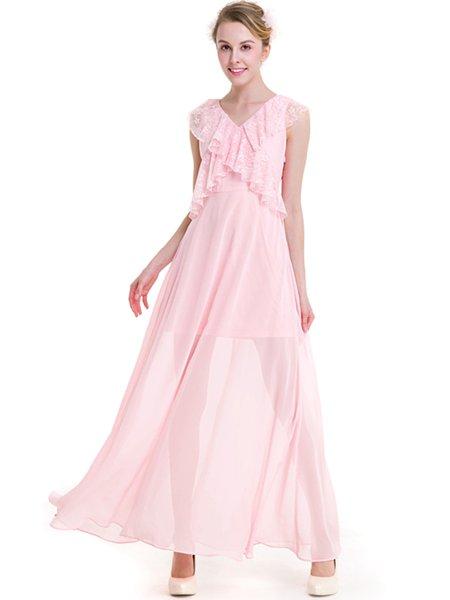 Pink Ruffled V Neck Sleeveless Maxi Dress - JustFashionNow.com
