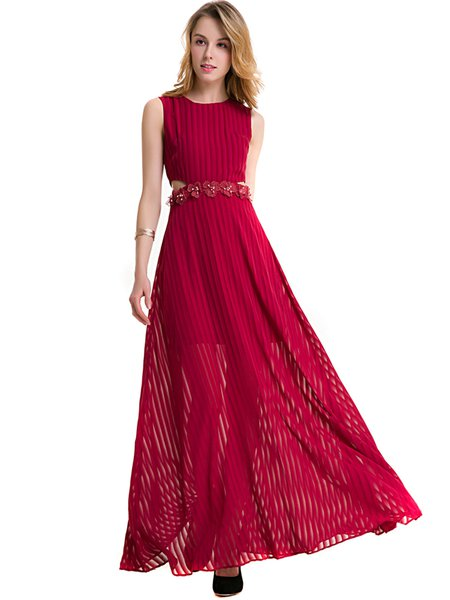 Burgundy Cutout Flowers Appliqued Chiffon Maxi Dress