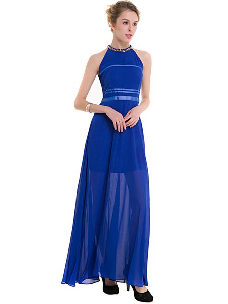 Royal Blue Sleeveless Chain-trimmed Swing Dress