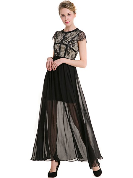 Black Short Sleeve Paneled Lace Chiffon Maxi Dress ...