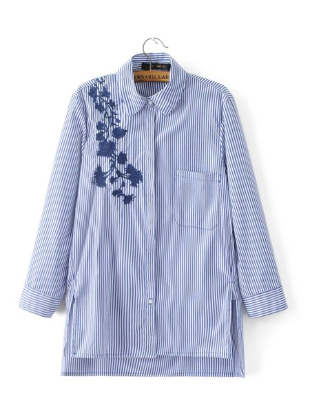 Blue Pockets Embroidered Floral Stripes Shirt