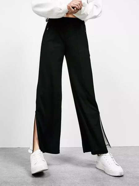 Black Pockets Slit Side Casual Wide Leg Pants