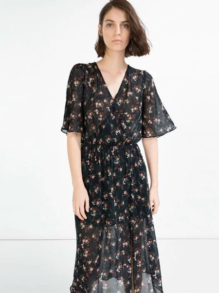 Black Half Sleeve Surplice Neck Floral-print Slit Dress