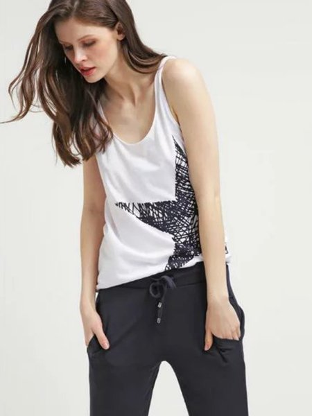 White Scoop Neckline Pentagram Printed Tank Top