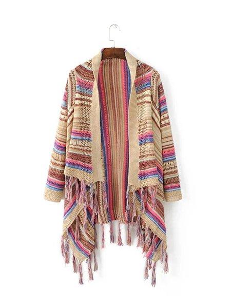 Long Sleeve Stripes Fringed Boho Knitted Cardigan