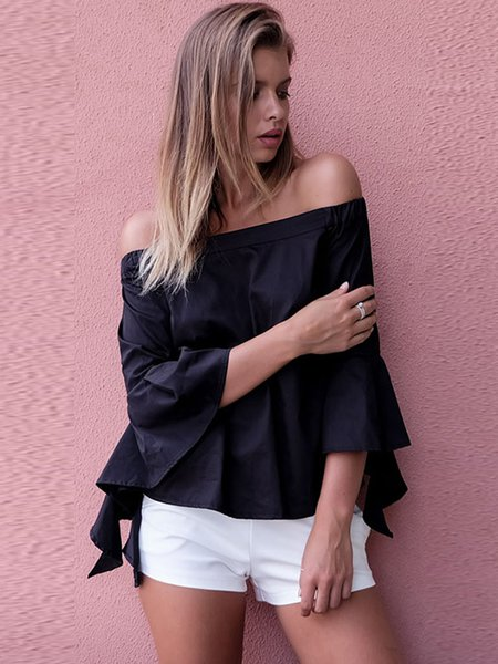 Black Frill Sleeve Solid Off Shoulder Top