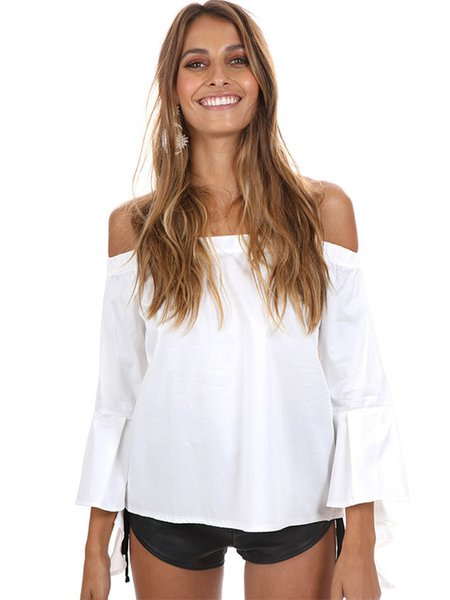 White Solid Frill Sleeve Off Shoulder Top