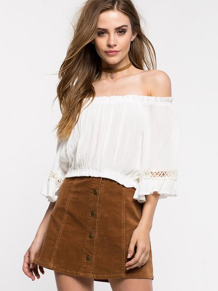 White Solid Pierced Girly Off Shoulder Top