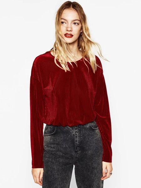 Red Ribbed Long Sleeve Velvet Crop Top